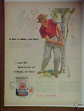 1954 Texaco Star Motor Oil Sam Snead Golf Art Print Ad