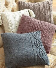 """KNITTING PATTERN - COLLECTION OF 4 ARAN WOOL CUSHION COVERS SIZE 16"""" SQUARE"""