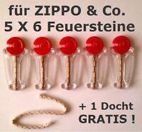 für ZIPPO & Co.- 5 X 6 Feuersteine / Flint im Spender + 1 Docht / Wick GRATIS !