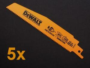 """5 x DEWALT DW4864 6"""" 152mm 10TPI DEMOLITION RECIPROCATING SAW BLADES"""