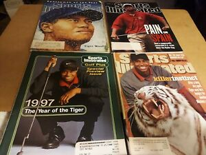 Vintage Sports Illustrated Magazines 1996-1998 Lot of 4 w/ Tiger Woods Featured