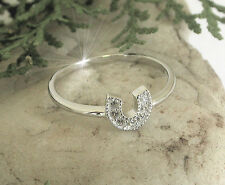 HORSE & WESTERN JEWELLERY   925 STERLING SILVER CZ HORSESHOE RING SIZE 9/R