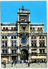 Venice Italy Postcard Clock Tower Bell Lion Statue People Unposted