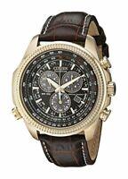 Citizen Black-Tone Dial Gold SS Brown Leather Quartz Mens Watch BL5403-03X