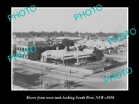 OLD LARGE HISTORIC PHOTO OF MOREE NSW, VIEW OF THE TOWNSHIP c1920