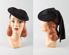 Vintage 1940s Hat 40s Black Jersey Tilt Snood Scarf Train Cocktail Film Noir