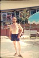 Vintage Color Photo Slide 1970s Shirtless Man Sandals Glasses Bathing Suit