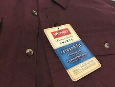 Wrangler Men's Double Pocket Relaxed Fit Long Sleeve Tawny Port Shirt Sm 34-36