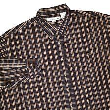 New IRVINE PARK Black Plaid Cotton Button Shirt Mens 3XL Reg