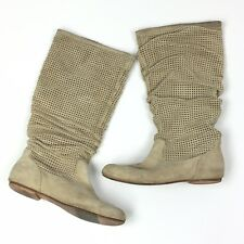 UGG Abilene Boots Cream Beige Ruched Scrunched Perforated S/N 1947 Womens Size 8
