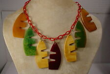 Vintage Celluloid Chain with Bakelite Abstract Charms Choker Necklace