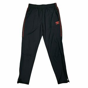 Umbro Joggers Size M Ankle Zip Black Pants Red Stripe Warm Up Tapered Stretch