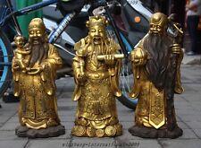 Chinese Bronze Gild Wealth God longevity Fukurokuju Fu Lu Shou Buddha Statue Set