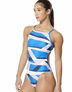 Speedo Women's Turnz Flash Back Onepiece Training Swimsuit, Blue/Pink, D34