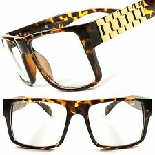 Millionaire Swag Hip Hop DJ Tortoise Gold Hot Mens Womens Clear Lens Glasses F49