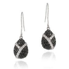 925 Sterling Silver Black & White CZ Teardrop Dangle Earrings