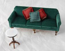 Vtg Dollhouse Miniature Chippendale Green Velvet Sofa Couch Marble Table Pillows