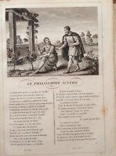 LA FONTAINE. LE PHILOSOPHE SCYTHE. FABLE ET GRAVURE 1834