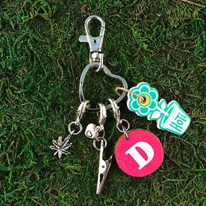 HOTI Handmade Pink White Initial Letter Marijuana Leaf Roach Clip Heart Keychain