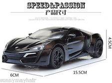 Lycan Hyper Fast & Furious Super Car 1/32 Black Pull Back Car Toy W/Light&Sound