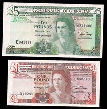 GIBRALTAR - 1 & 5 POUNDS 1988 - P# 20 & 21 - CV $110 - CRISP & UNC