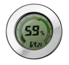 Digital Calibrateable Cigar Humidor Hygrometer Thermometer Round Silver 2.5 Inch