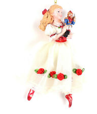 Nutcracker Ballet Clara  White Dress Red Trim Resin Christmas Ornament NEW A02