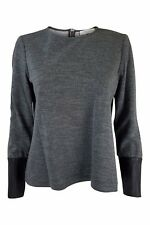 JAEGER Grey Long Sleeved Leather Cuffed Top (M)