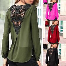 Womens Fashion Chiffon Lace Crochet Long Sleeve Shirts Ladies Casual Blouse Tops
