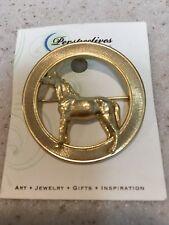 Pin - Gold Tone Circle w/ Horse Broach /