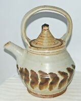 Studio Art Pottery Teapot with Top Handle Gray w/Light Green Tint, Brown Heavy