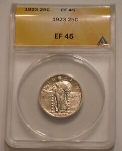 1923 P Standing Liberty Quarter ANACS EF 45 brilliant with Radiant Luster