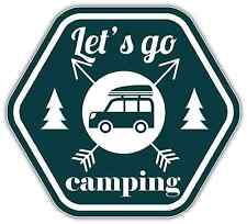 "Let's Go Camping Car Bumper Window Sticker Decal 5""X4"""