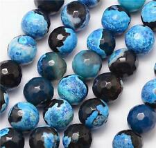 PREMIUM QUALITY NATURAL FIRE AGATE FACETED ROUND BEADS BLACK BLUE 8mm 25 Beads