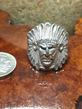 Vintage 13g Sz12 Navajo Warrior CHIEF FEATHERS Indian RING STERLING SILVER
