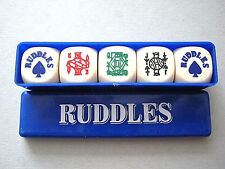 POKER DICE RUDDLES BREWERY ADVERTISING SET OF 5 COMPLETE BOX VINTAGE DICE SET