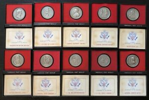 1973 U.S. MINT America's First Medals, PEWTER Set of 11, Boxes, Display, Booklet