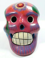 Ceramic Sugar Skull Hand Painted Day of the Dead Calavera Pink