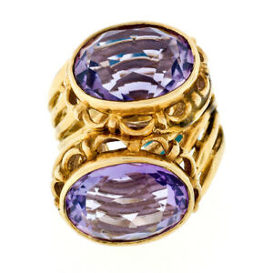Handmade Vintage 14K Yellow Gold Lilac Purple Amethyst Open Bypass Cocktail Ring