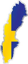 "Sweden Country Flag Map Car Bumper Window Mirror Sticker Decal 2.5""X6"""