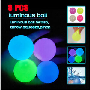 8PCS Sticky Ceiling Balls Glow in The Dark Stress Relief Globbles Stress Fun Toy