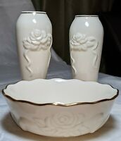 Pair of Lenox Rose and Ribbon Bud Vases and Candy Bowl 24k Gold Trim 3 pcs.