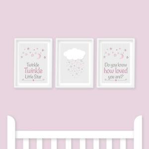 Nursery Prints - Twinkle Twinkle Little Star Pink, Personalised, Moon, Kids Room