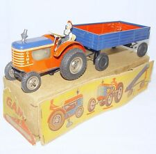 Gama Germany 1:32 DEUTZ FARM TRACTOR & TRAILER Tin Wind-Up Toy 27cm NMIB`55 RARE