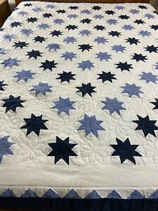 Vintage Hand Quilted 6 Pointed Star Quilt Blue & White 87x84 #607