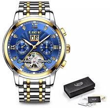 BLUE MENS DESIGNER WATCHES FOR MEN SKELETON MECHANICAL AUTOMATIC WATCH STEAMPUNK