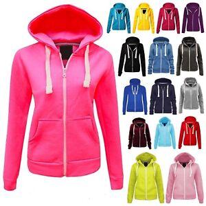 New Kids Girls/Boys Plain Colored Zip Up Hoodie Hooded Sweatshirt