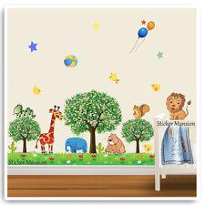 Animal Wall Stickers Zoo Jungle Giraffe Lion Tree Nursery Baby Room Decal Art