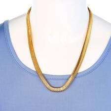 Men Lady 14K Gold Plated 11mm Flat 24in Herringbone Necklace Chain Hip-Hop Rock