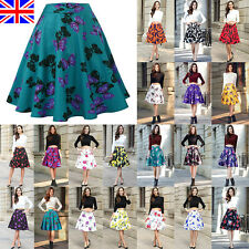 UK Women High Waist Plain Skater Flared Pleated Swing Long Midi Skirt Dress 8-20